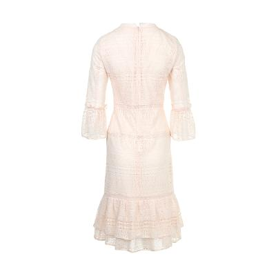 ruffle detail lace dress ivory
